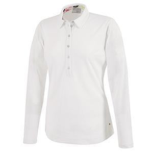 Galvin Green Womens MELINDA VENTIL8™ PLUS Long Sleeve Polo - White