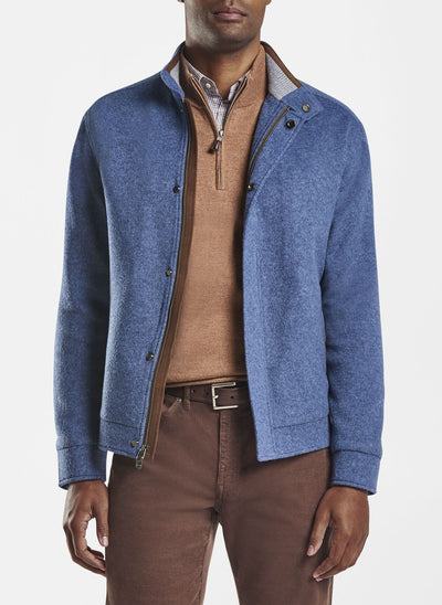 Peter Millar Mens Crown Flex-Fleece Bomber - SAILOR BLUE