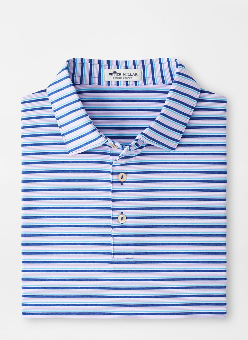 Peter Millar Mens GREEN STRIPE STRCH JRSY SN - DEEP OCEAN