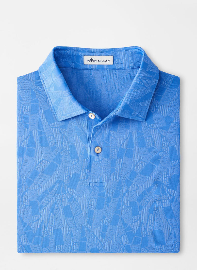 Peter Millar Mens CARL BANANA LEAF JACQ POLO SN - BLUE SEA