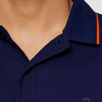 J.LINDEBERG MENS ROY COTTON POLO SHIRT - MID BLUE