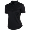 Greg Norman Women's S/S Faux Leather Trimmed Polo - BLACK