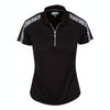 Greg Norman Women's Catrina Zip Tiger Polo - BLACK