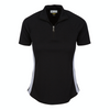 Greg Norman Women's Microlux Zip Polo - BLACK