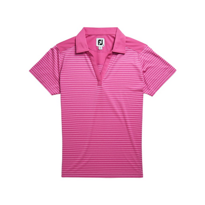 FootJoy Women's Lisle Tonal Stripe Open Neckline - Heather Rose