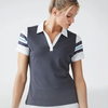 FootJoy Women's Baby Pique Stripe Shirt - Charcoal White Royal