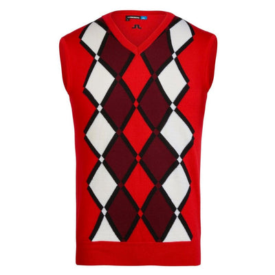 J. LINDEBERG  Mens - LTD EDITION TRU 100% MERINO SWEATER VEST - RACING RED