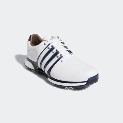 ADIDAS MEN'S TOUR360 XT SPIKED SHOES - WHITE/NAVY/SILVER