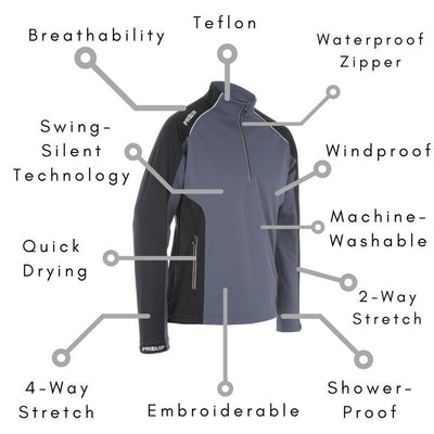 PROQUIP Mens TourFlex Cyclone Soft Shell Windproof Pullover - GREY