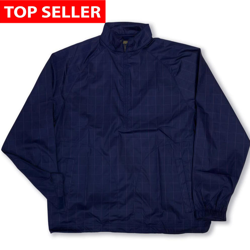 Donald Ross Long Sleeve Packable Lightweight 1/2 Zip Windbreaker - NAVY/AZALEA