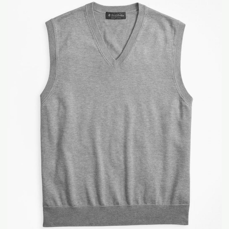Brooks Brothers Mens Supima® Cotton V-Neck Vest - GREY