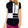 Womens Catwalk Mock Short Sleeve Top - Black/White
