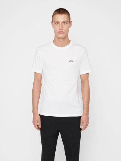 J.LINDEBERG MENS BRIDGE JERSEY TEE-SHIRT - WHITE