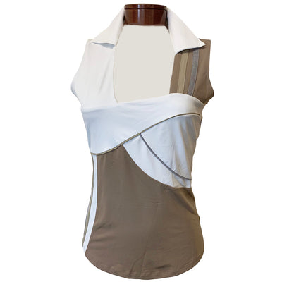 Catwalk Stacey Sleeveless Relaxed Fit Top - Sand - White