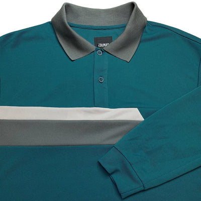 Colmar Men's Pique Long Sleeve Polo - Blue/Grey