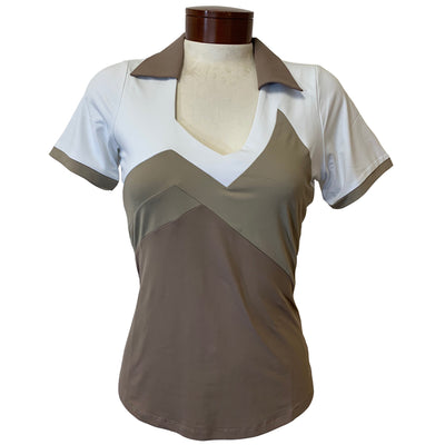 Catwalk Charlotte Relaxed Short Sleeve Golf Top - Sand