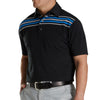 FJ Men's Lisle Chest Stripe Self Collar - Black