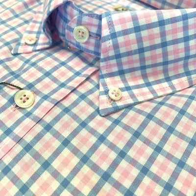 Donald Ross Long Sleeve Dress Shirt - WHITE/PACIFIC/PINK