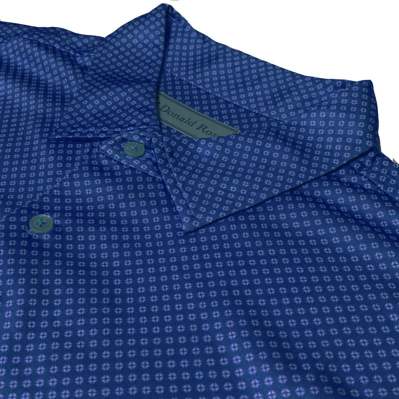 Donald Ross Mens 2-Color NEAT PRINT Pattern Polo , Self Collar - NAVY