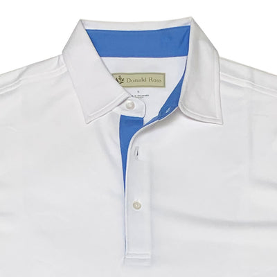 Donald Ross Mens Classic Lacoste Style Solid Pique Polo - WHITE/ OCEAN