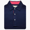 Mens Short Sleeve Solid Jersey SELF Collar - NAVY BERRY