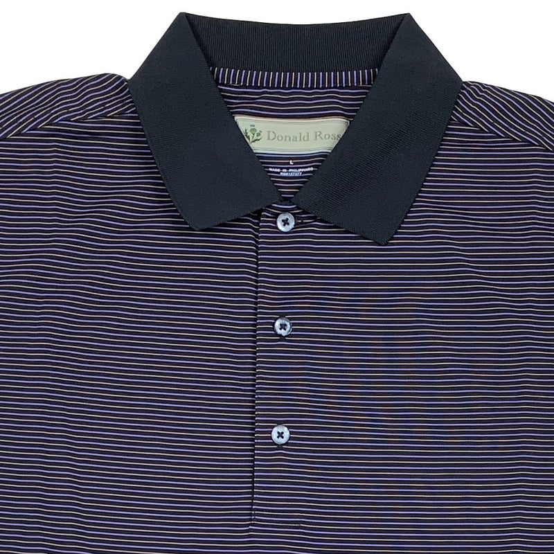 Donald Ross Mens Short Sleeve 3 Color Stripe JERSEY Polo, Knit Collar - BLACK / PLUM