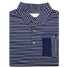 Mens Long Sleeve Two-Color Jersey Polo - NAVY/ CREAM