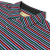 Donald Ross Mens Bold MULTI Stripe JERSEY SELF COLLAR Polo - BLACK /CHERRY