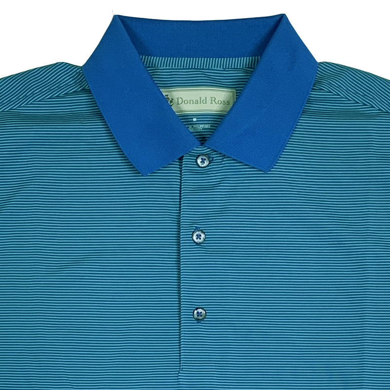 Donald Ross Short sleeve MICRO stripe JERSEY POLO - PATRIOT BLUE / IVY