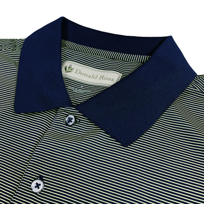 Donald Ross Mens Short Sleeve Micro Stripe JERSEY Polo, Knit Collar - NAVY / CITRON