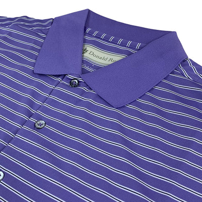 Donald Ross Short sleeve 3-color FRAME stripe JERSEY KNIT Collar - PLUM