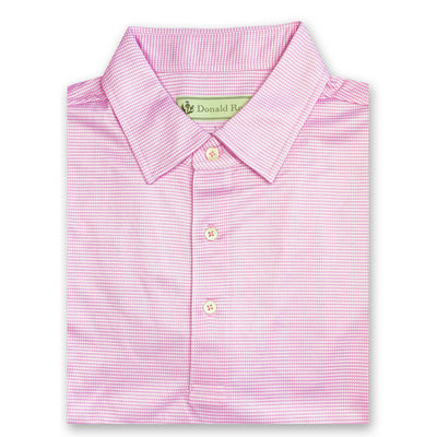 Donald Ross Mens Short Sleeve 2-Color DOTTED PRINT Pattern , Self Collar - PINK