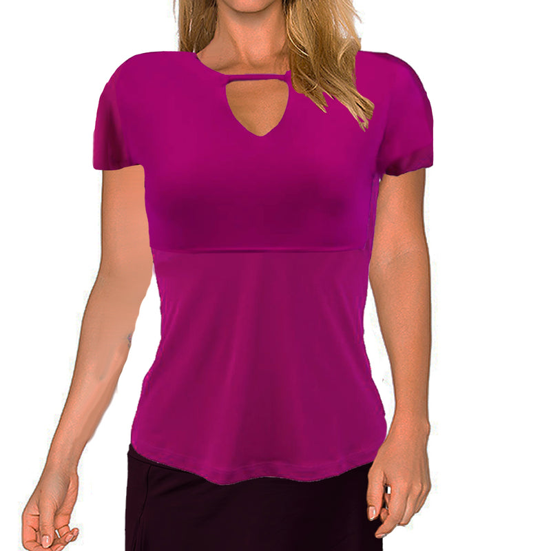 Catwalk Front2Back Short Sleeve Golf Top - Magenta