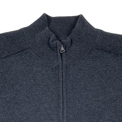 Greg Norman Collection Men's LINED COTTON 1/4-ZIP WIND SWEATER - Black Heather