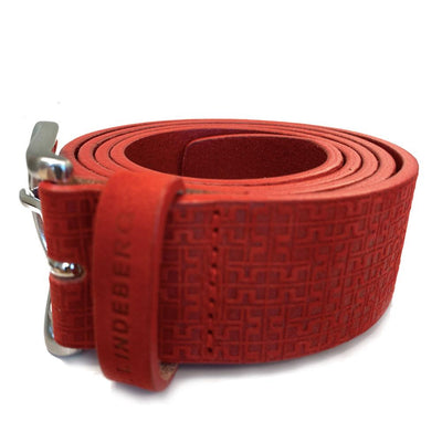 J.LINDEBERG MENS LTD EDITION JAN JAQUARD LEATHER BELT - RACING RED