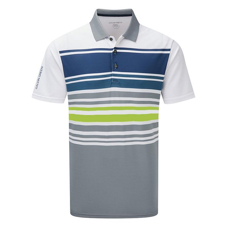 Galvin Green Mens MIGUEL VENTIL8™ PLUS Polo - WHITE/SHARKSKIN/NAVY/LIME