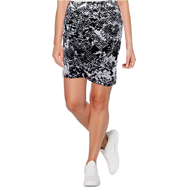 Catwalk Crossover Skirt - Black/Print Scuba