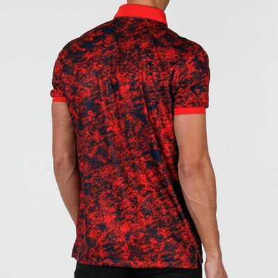 J. LINDEBERG MEN'S - TOUR TECH REG CAMOU PRINT - DEEP RED