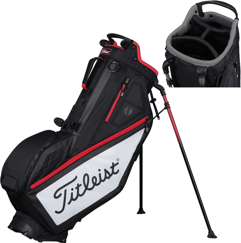 Titleist PLAYERS 4 STAND BAG - BLACK-WHITE-RED