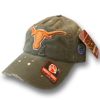 American Needle College Football Texas LongHorns Paint Spill Hat 7-1/4""
