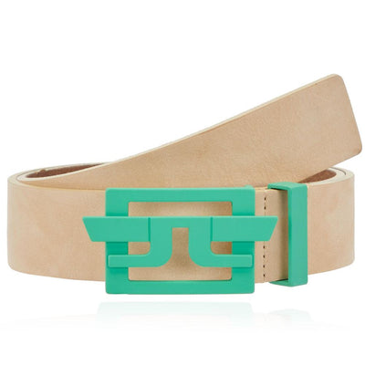 J.LINDEBERG Mens NEW WING BRUSHED LEATHER BELT - FRESH GREEN