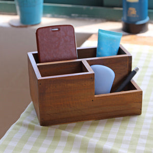 Multifunctional Wooden Desktop Office Supply Caddy and Succulent Planter