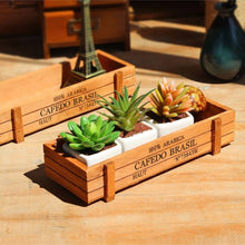 Vintage Rectangular Wooden Succulent Planter Box