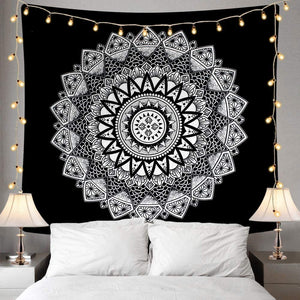Black and White Mandala Wall Hanging Tapestry