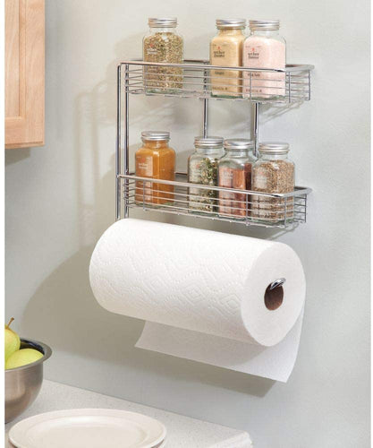 mDesign Wall Mounted Paper Towel Roll Holder with Storage Shelves