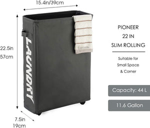 Slim Laundry Basket with Rolling Stand for RV and Tiny Home