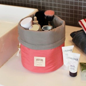 Barrel Shaped Nylon Travel Organizer Cosmetic Bag - Choice of 6 Colors