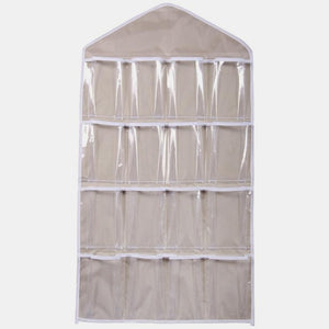 Multi-Purpose 16 Pocket Clear Hanging Closet Organizer Storage Bag