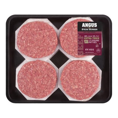 85% Lean/15% Fat Angus Ground Beef Patties, 4 lbs