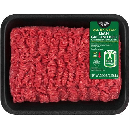 93% Lean, 7% Fat All Natural Ground Beef Package, 2.25 lbs